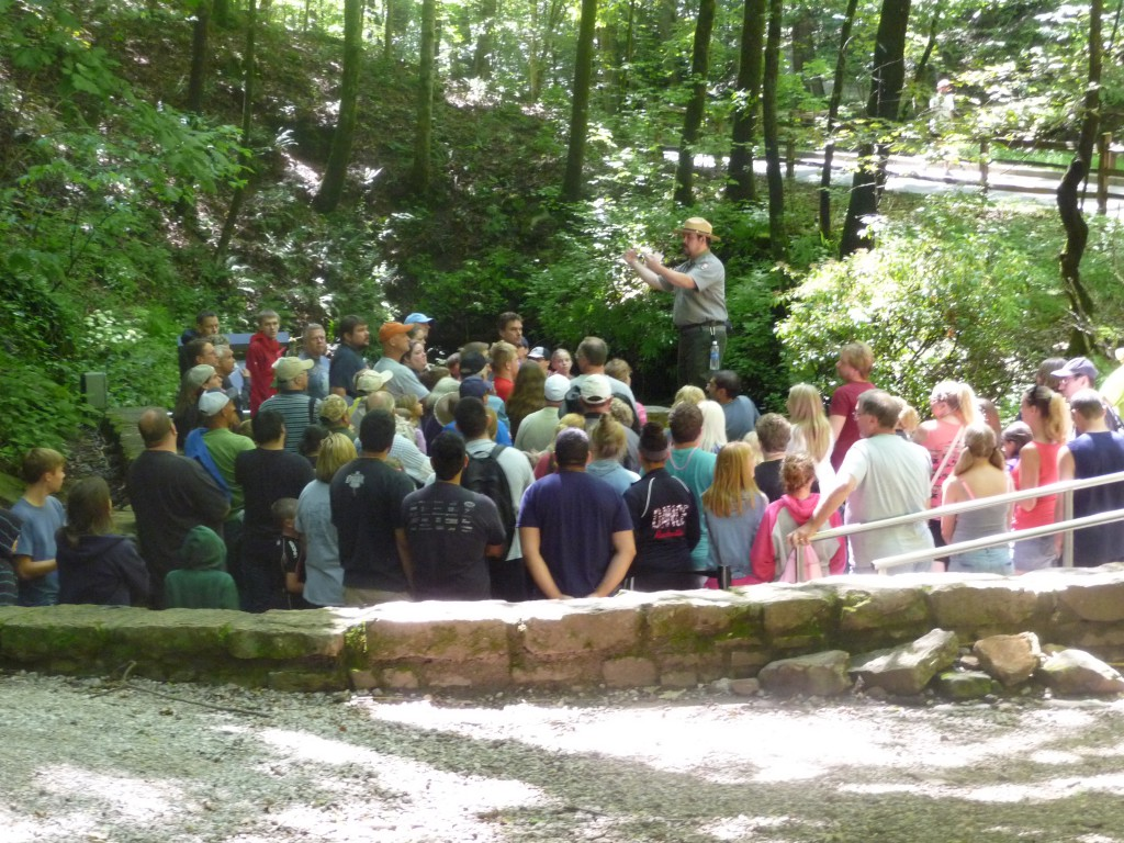 A ranger guide leads a tour into Mammoth Cave.