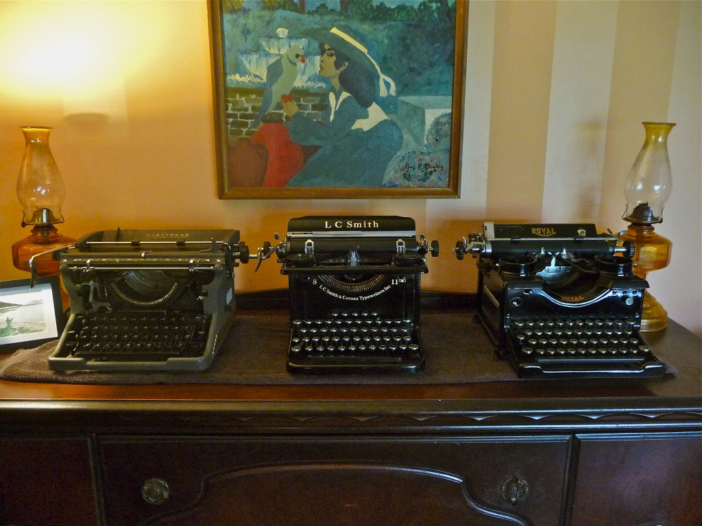 Left to right: Underwood, 1951; L. C. Smith 8 11, 1935; and Royal standard, 1933