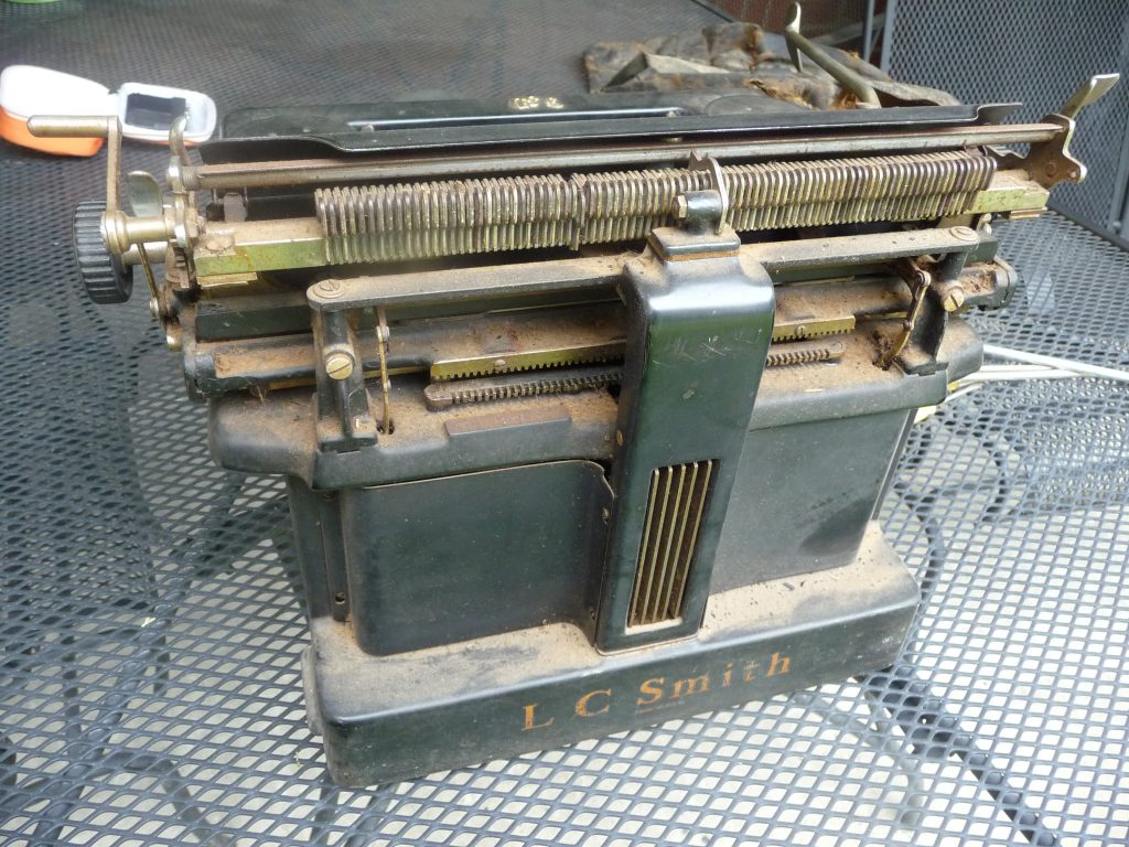 "Here's a ""before"" shot of Aunt Ruth's typewriter, so you can see just how far it came in the restoration process."